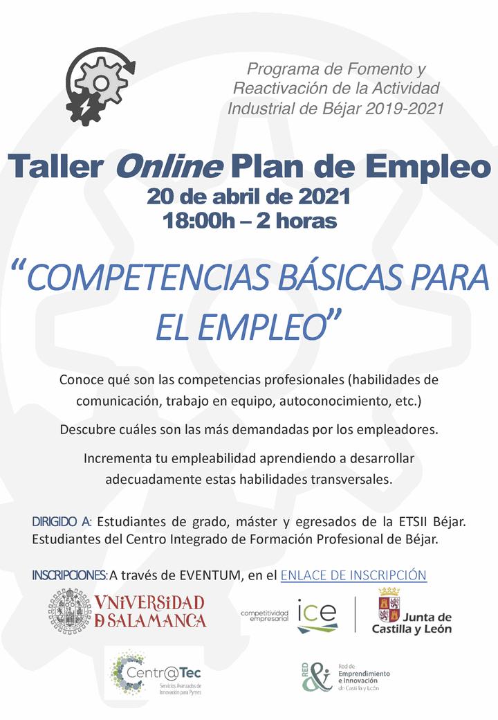 """TALLER ONLINE: """"Competencias básicas para el empleo"""""""